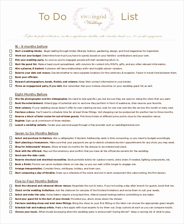 Example Of to Do List Awesome 8 Wedding to Do List Free Sample Example format