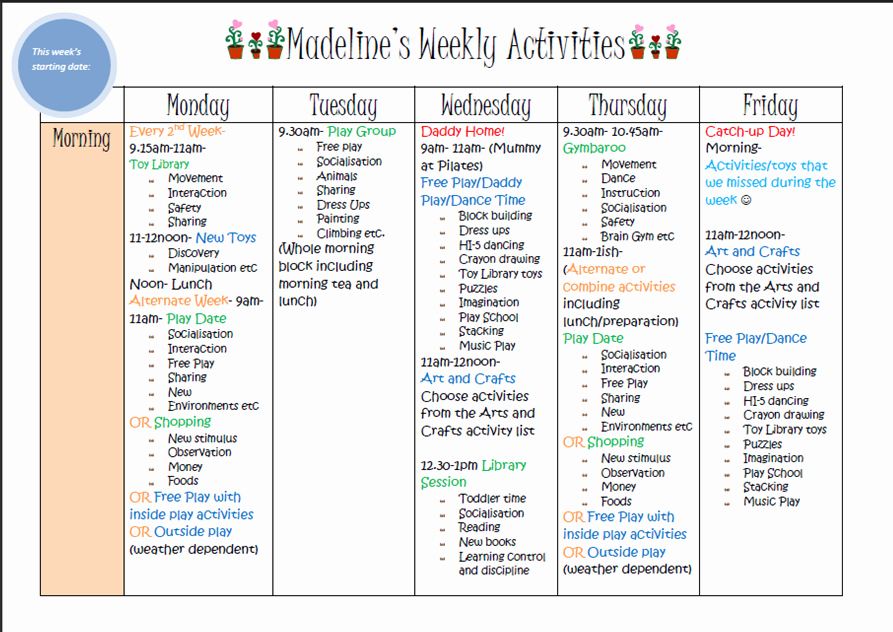 Example Of to Do List Best Of Weekly Kids Activity Planner Template House Plans