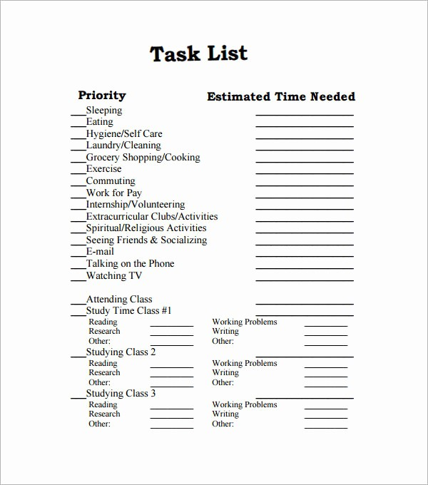 Example Of to Do List New Sample Task List Template 8 Free Documents Download In