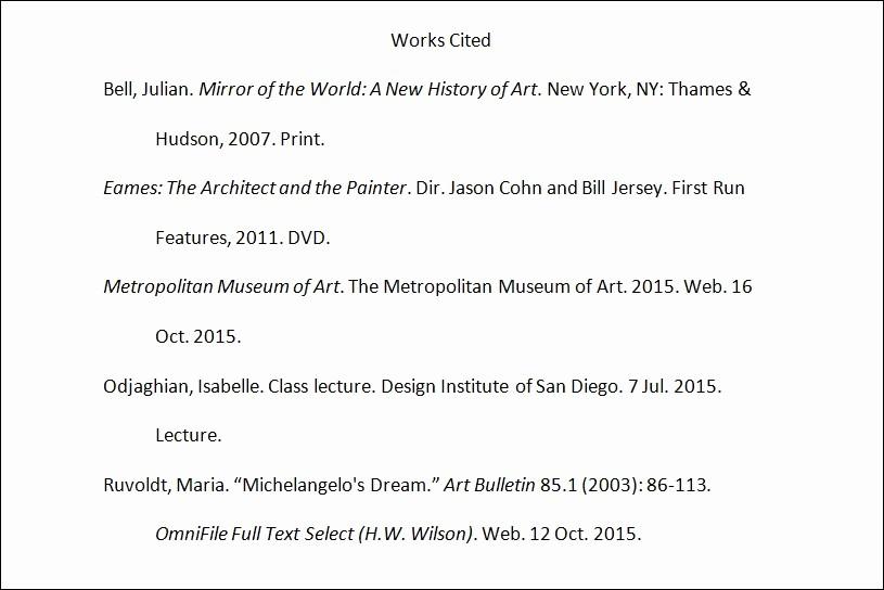 Example Of Work Cited Mla Elegant Tutorial Citing In Mla Design Institute San Diego