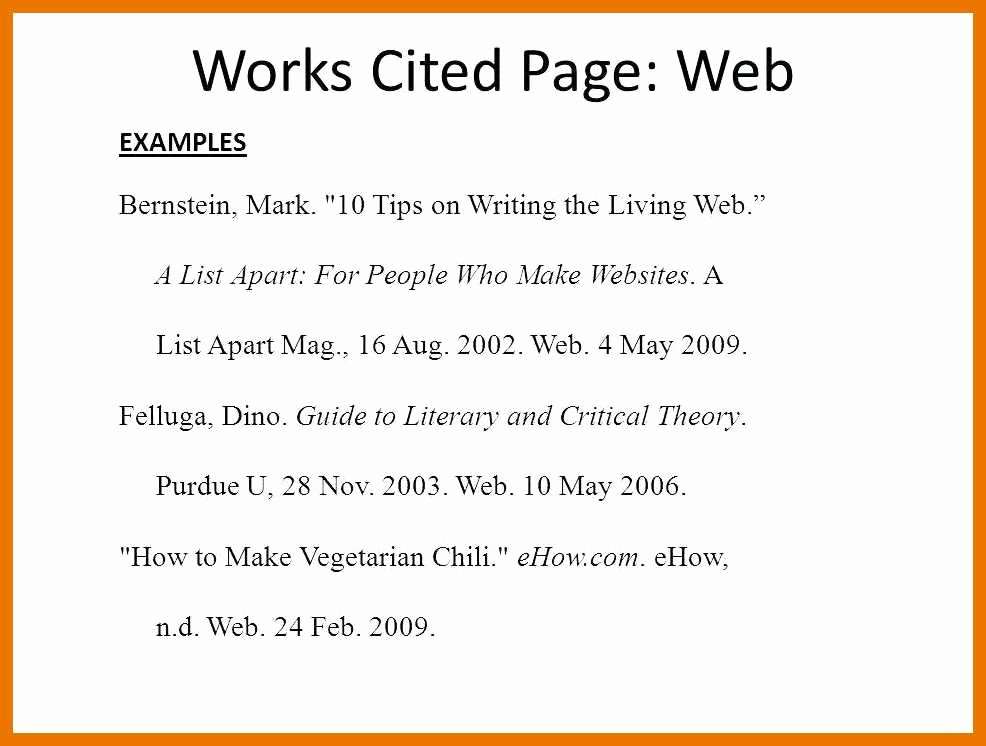 Example Of Work Cited Mla Inspirational 9 10 Example Of A Work Cited Page