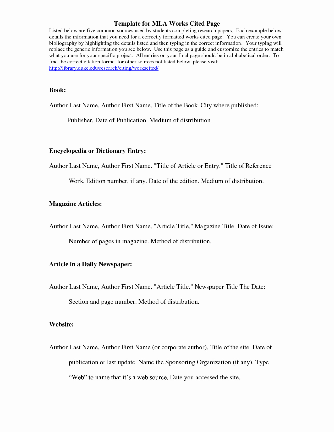 Example Of Work Cited Mla New Mla Citation Template