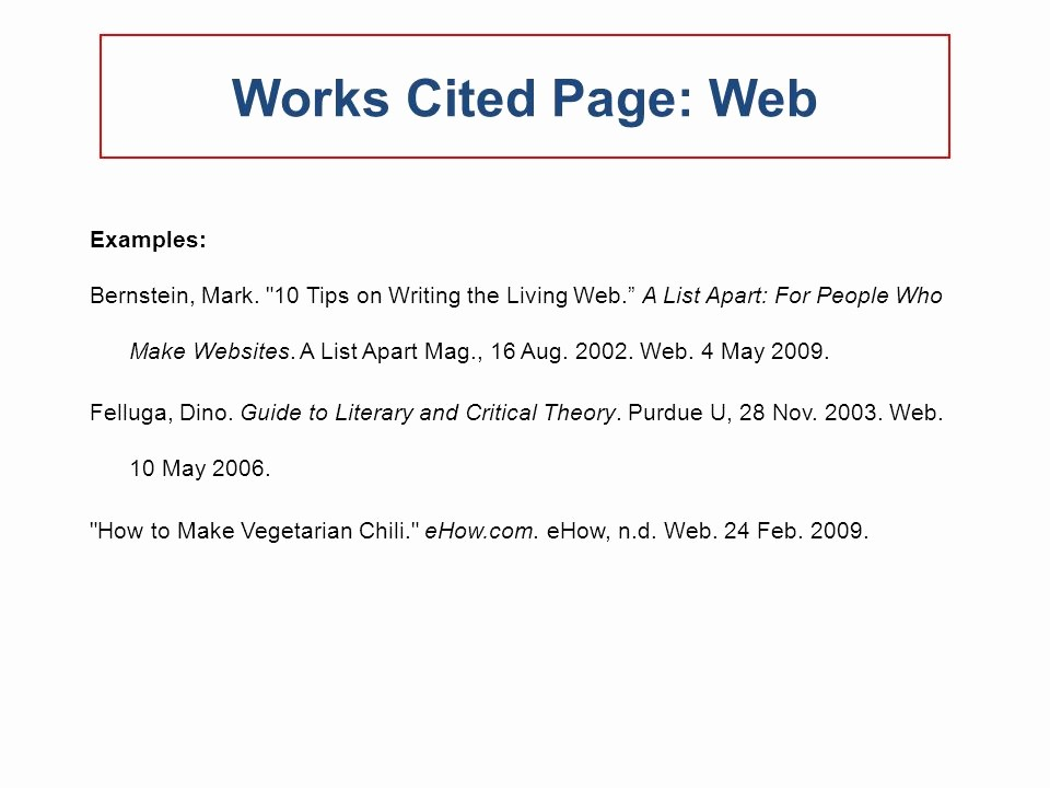 Example Of Works Cited Pages Fresh Mla 2009 formatting and Style Guide Ppt