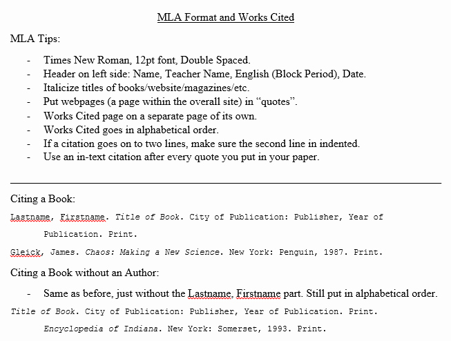 Example Of Works Cited Pages Luxury Mrs Whittington English 9 Mla Works Cited Information