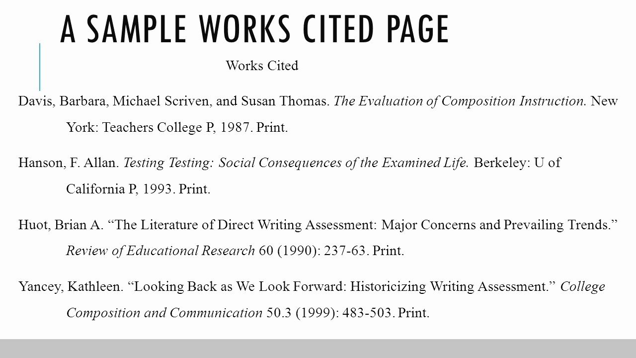 Example Of Works Cited Pages New Documentation In Mla format Ppt