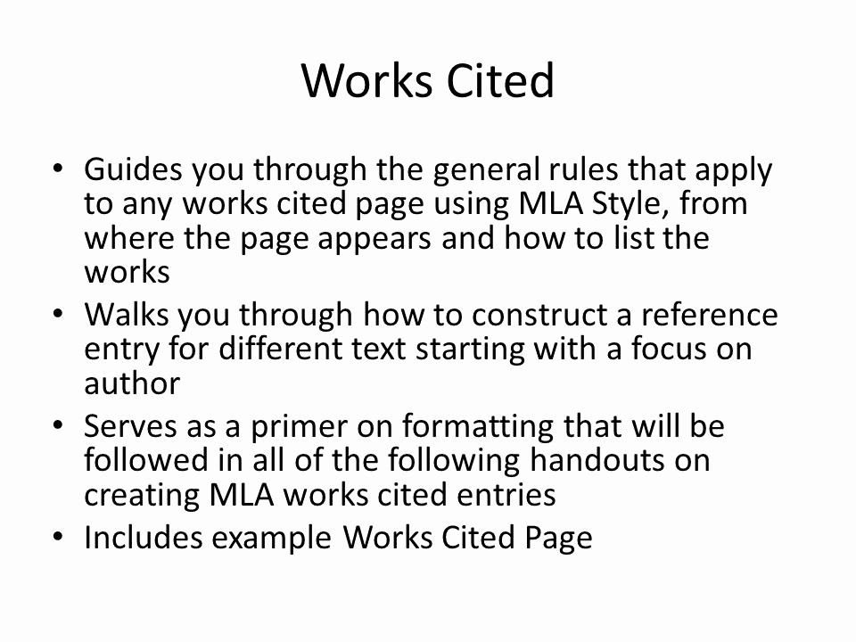 Example Of Works Cited Pages New Mla format Ppt