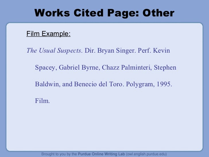 Example Of Works Cited Pages New Mla formatting