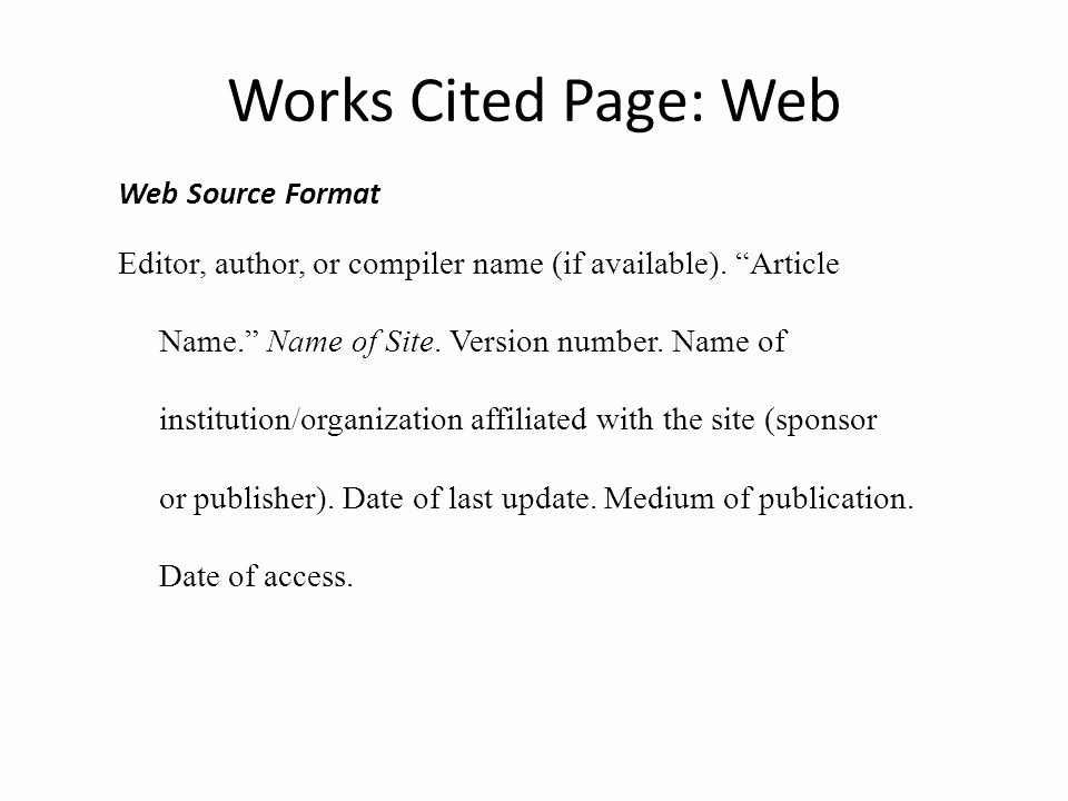 Example Work Cited Page Mla Best Of Mla Works Cited & In Text Citations Ppt Video Online
