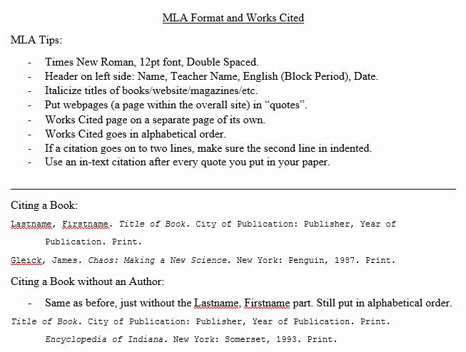 Example Work Cited Page Mla Elegant Mrs Whittington English 9 Mla Works Cited Information
