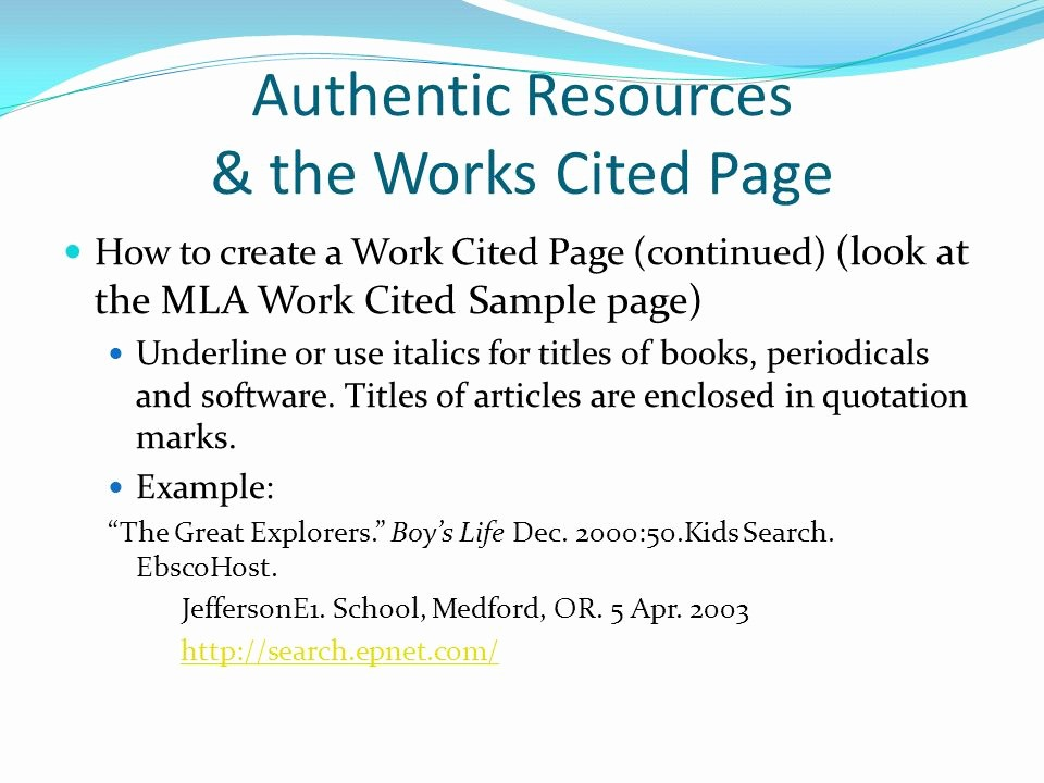 Example Work Cited Page Mla Fresh Authentic Resources & the Works Cited Page Ppt Video
