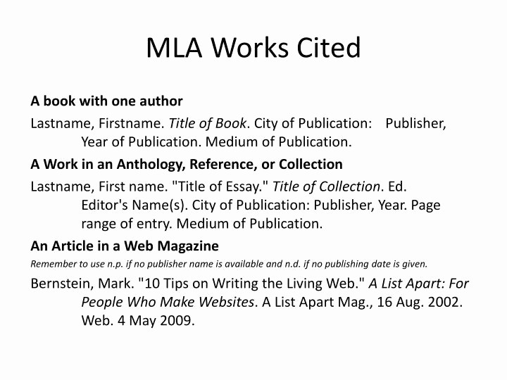 Example Work Cited Page Mla Inspirational Ppt Mla Works Cited Powerpoint Presentation Id