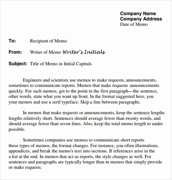 Examples Of A Business Memo Awesome 7 Pany Memo Templates