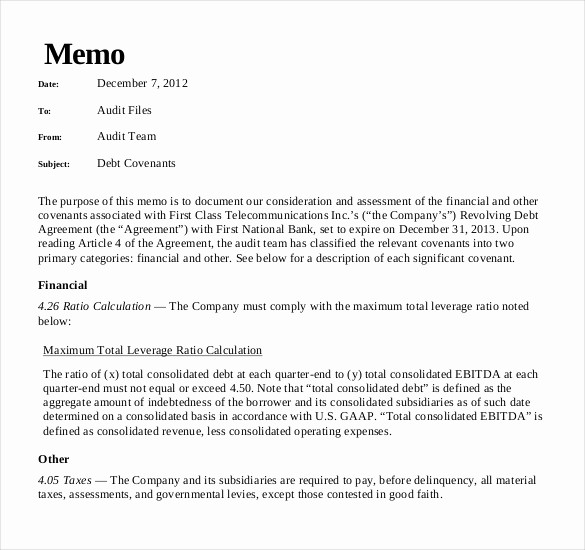 Examples Of A Business Memo Beautiful 15 Audit Memo Templates – Free Sample Example format