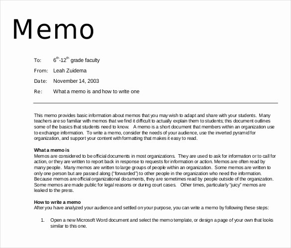 Examples Of A Business Memo Inspirational 16 Professional Memo Templates – Sample Word Google Docs