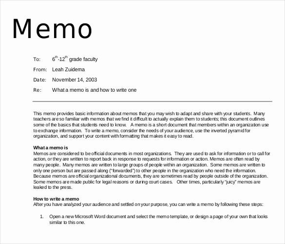 Examples Of A Business Memo Inspirational 16 Professional Memo Templates – Sample Word Google Docs