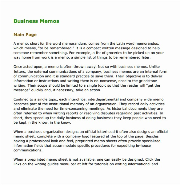 Examples Of A Business Memo New 6 Business Memo Samples
