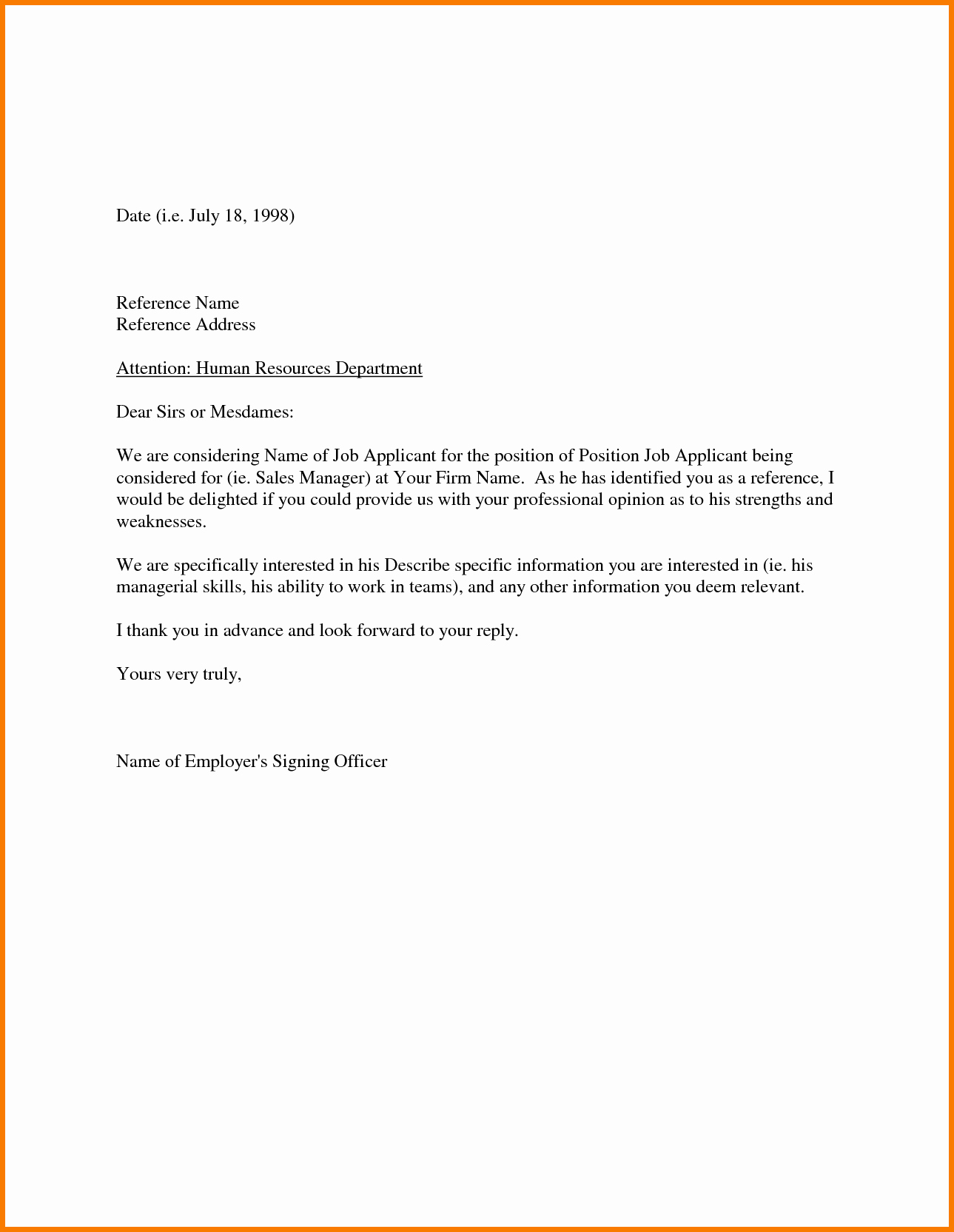 Examples Of A Reference Letter Best Of Sample Re Mendation Letter From Employer Appeal Letters