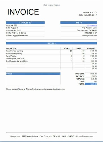 Examples Of Invoices for Services Awesome 10 Free Freelance Invoice Templates [word Excel]