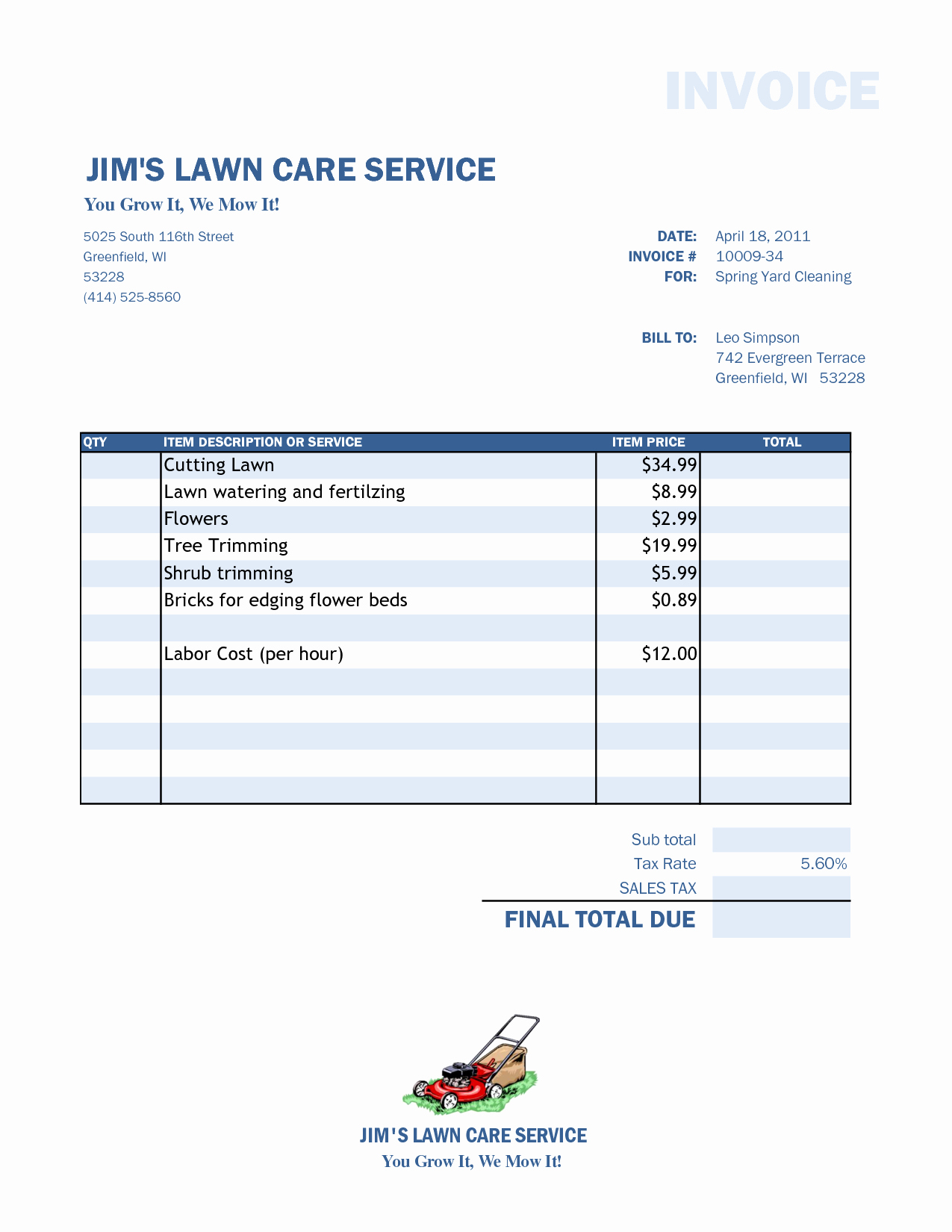 Examples Of Invoices for Services New Lawn Care Invoice Template Word
