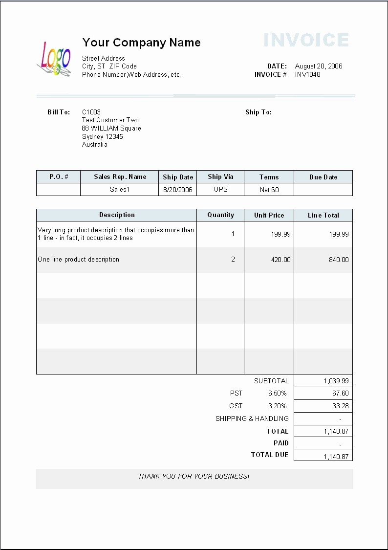 Examples Of Invoices In Word Inspirational Invoice Template In Word format