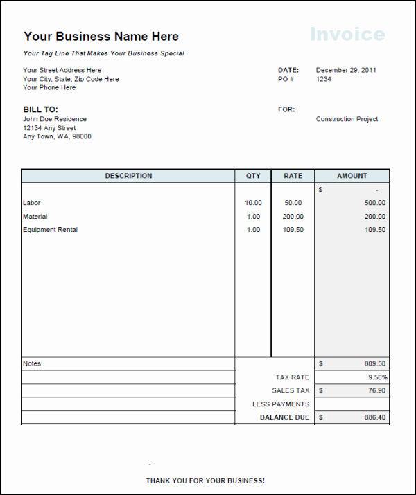 Examples Of Invoices In Word Unique Contractor Invoice Template