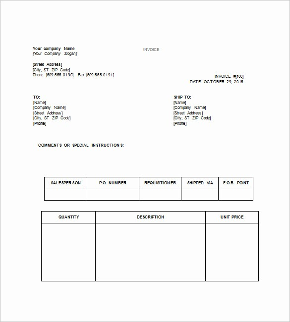 Examples Of Invoices In Word Unique Tax Invoice Template Word Doc