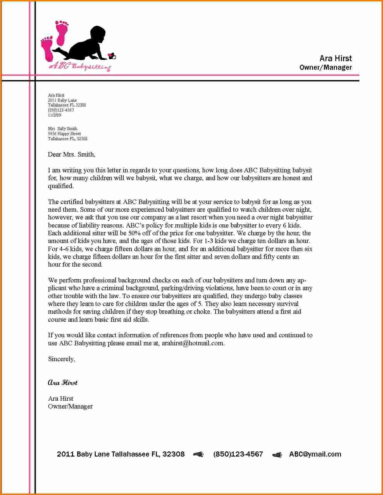Examples Of Letterheads for Business Elegant 8 formal Letter format with Letterhead