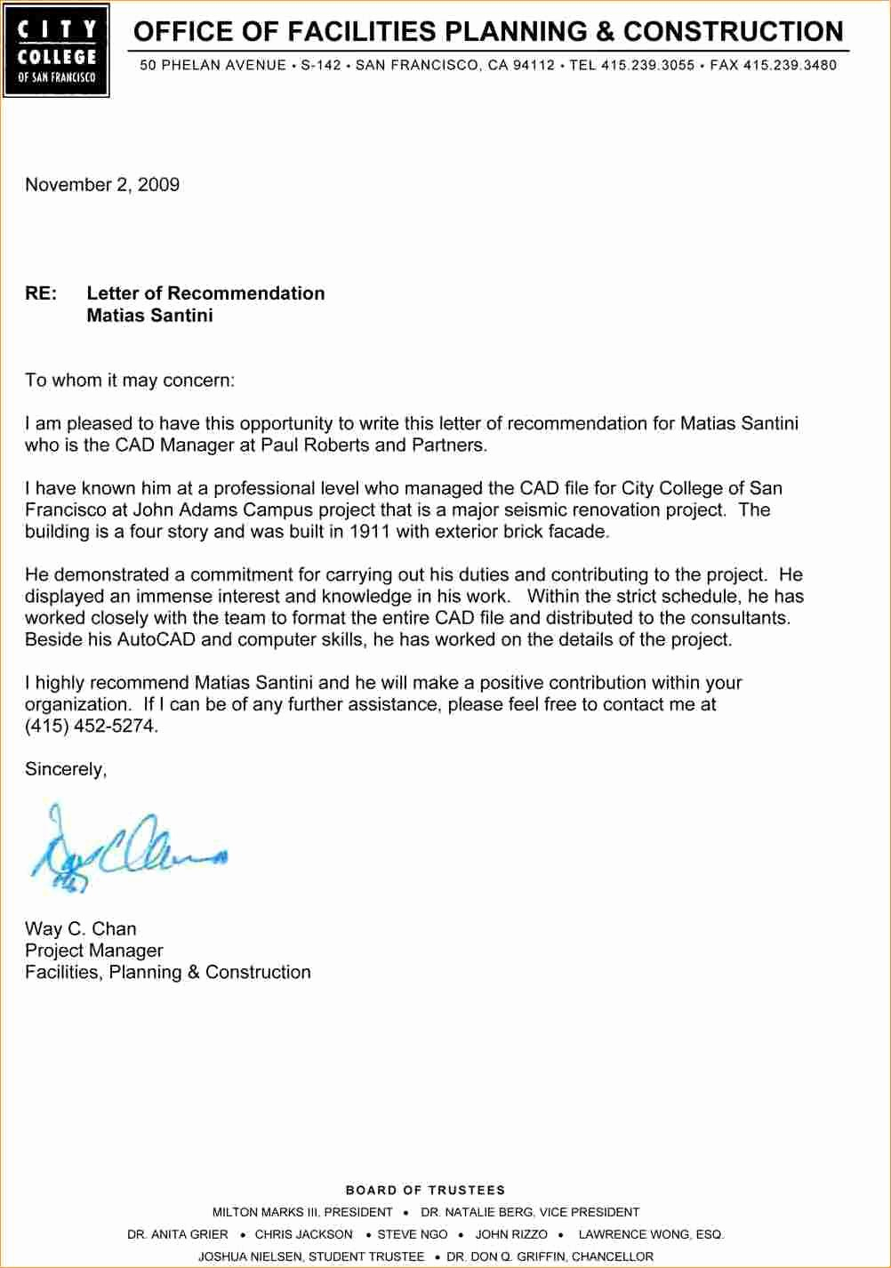 Examples Of Letters Of Reference Awesome Academic Re Mendation Letter Sample Business Proposal