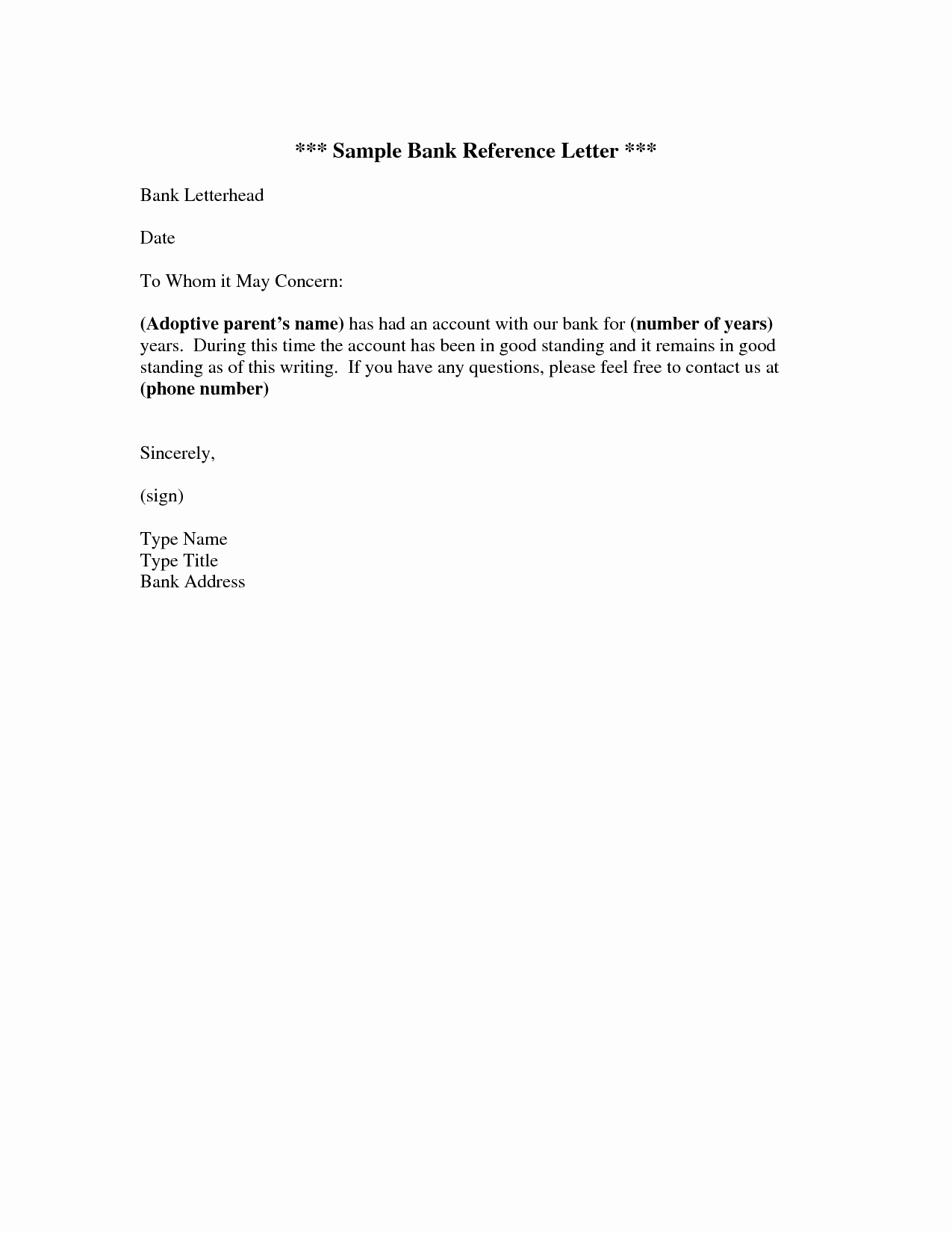 bank reference letter example