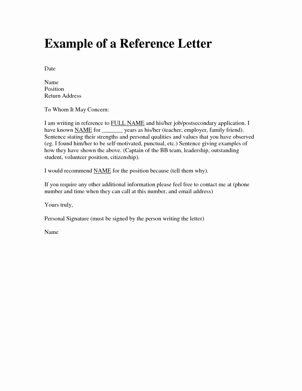 Examples Of Letters Of Reference New Letter Of Re Mendation format Sample Template