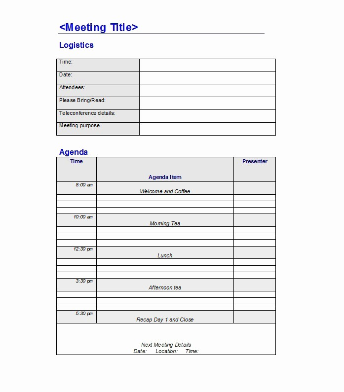 Examples Of Meeting Agenda Templates Awesome 46 Effective Meeting Agenda Templates Template Lab