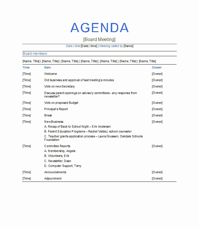 Examples Of Meeting Agenda Templates Fresh Meeting Agenda Templates