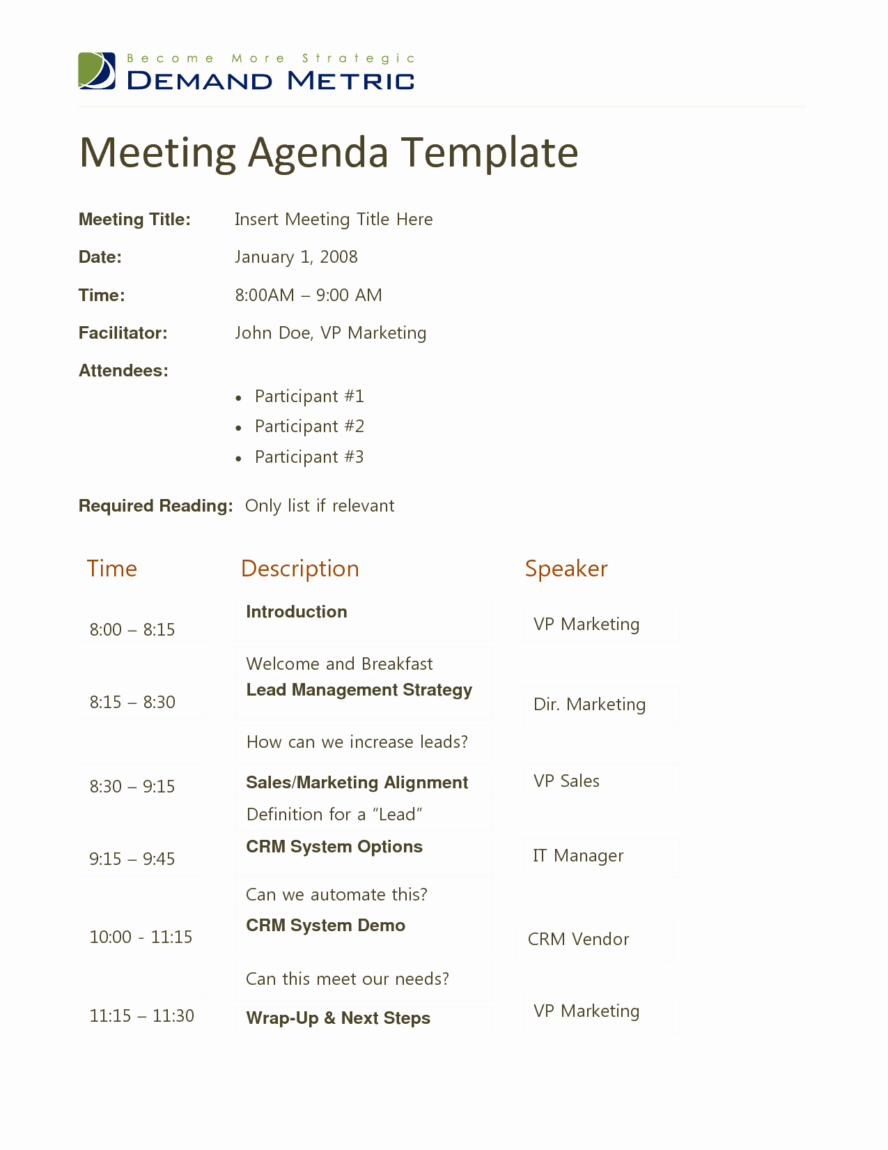Examples Of Meeting Agenda Templates Inspirational Docstoc Meeting Agenda Template Doc