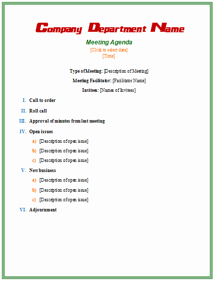 Examples Of Meeting Agenda Templates Inspirational formal Meeting Agenda Template Agendas