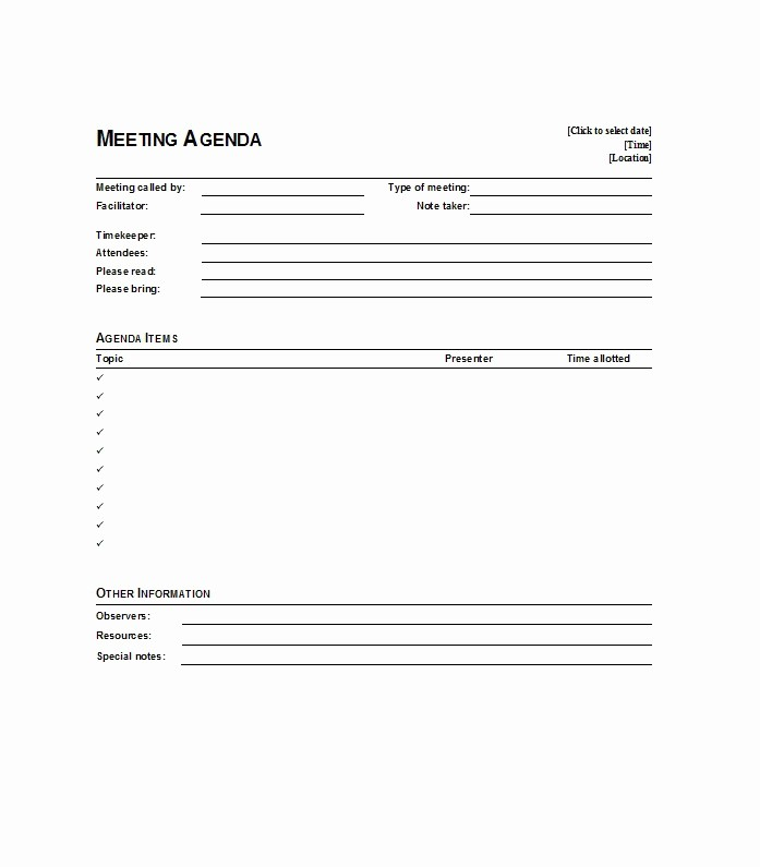 Examples Of Meeting Agenda Templates Lovely 46 Effective Meeting Agenda Templates Template Lab