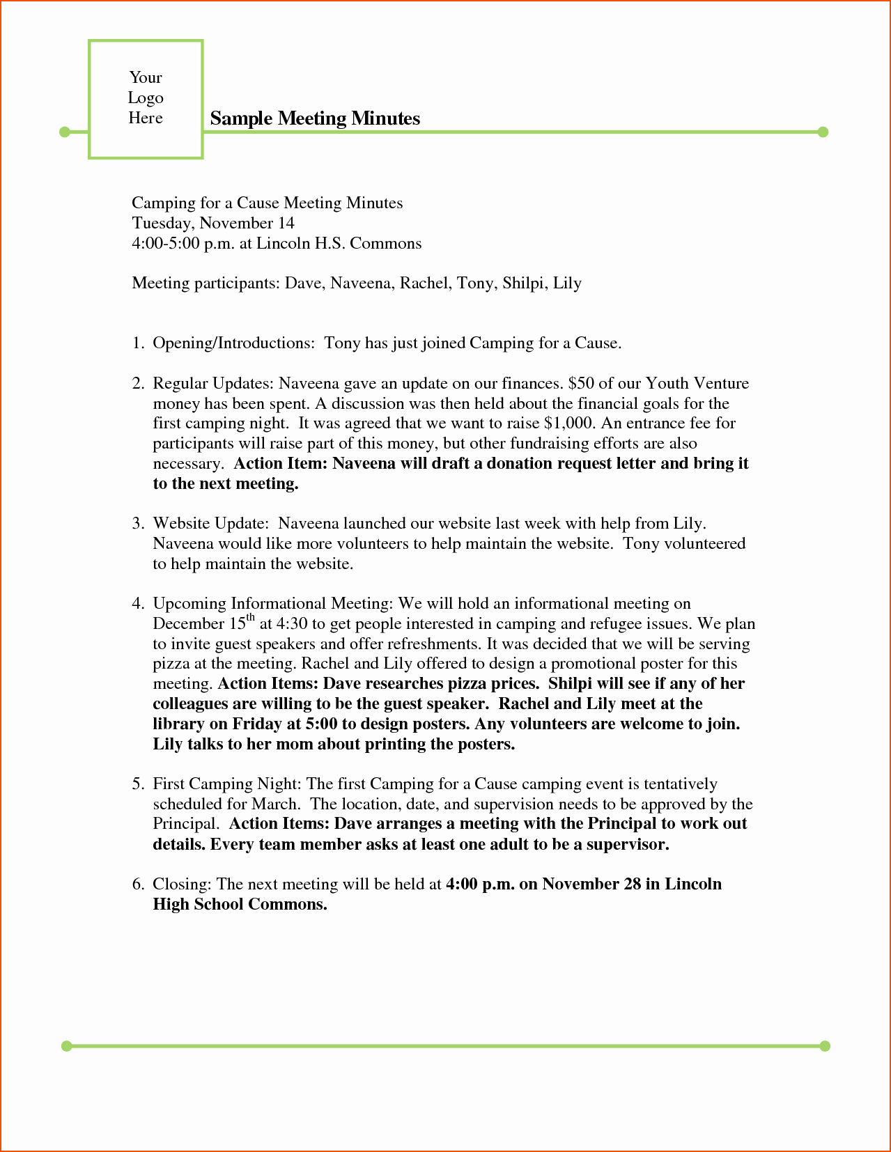 Examples Of Meeting Minutes Template Awesome Meeting Free Template Sample Meeting Minutes Template