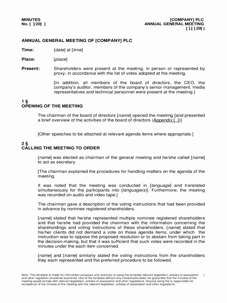 Examples Of Meeting Minutes Template New Annual General Meeting Agenda Template 8 Free Templates In