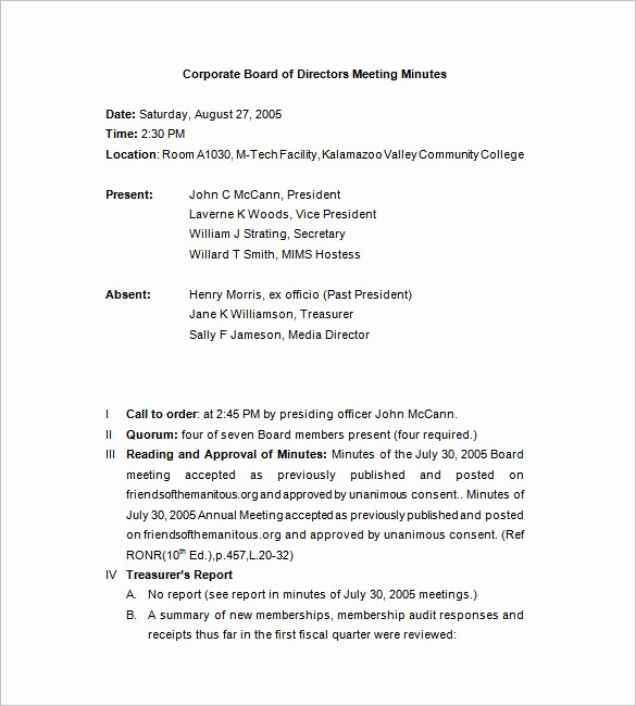 Examples Of Minutes Of Meeting Fresh Corporate Meeting Minutes Templates – 12 Free Sample