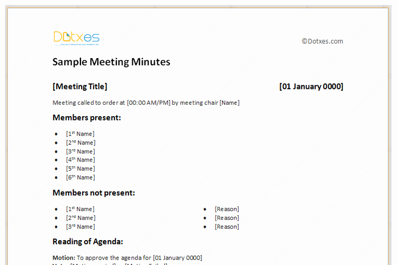 Examples Of Minutes Of Meeting Fresh Meeting Minutes Template Free Printable formats for Word