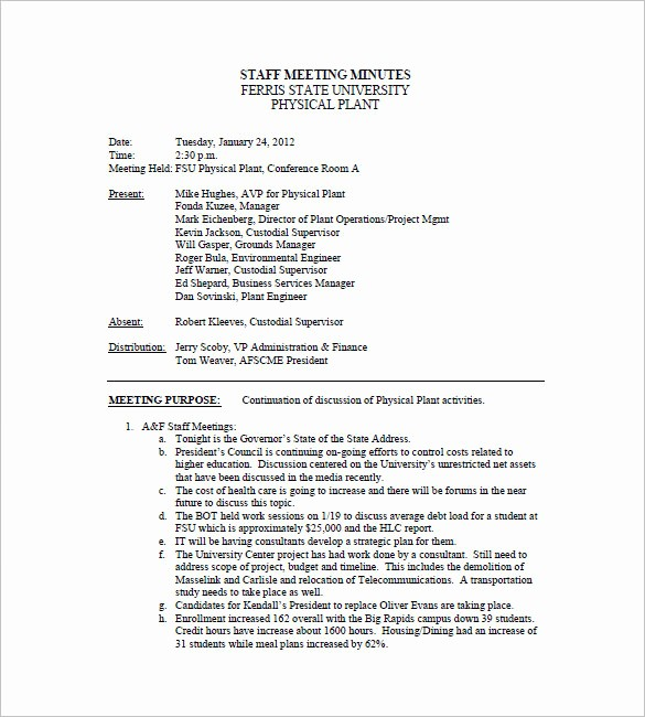 Examples Of Minutes Of Meeting Lovely Staff Meeting Minutes Template 17 Free Word Excel Pdf