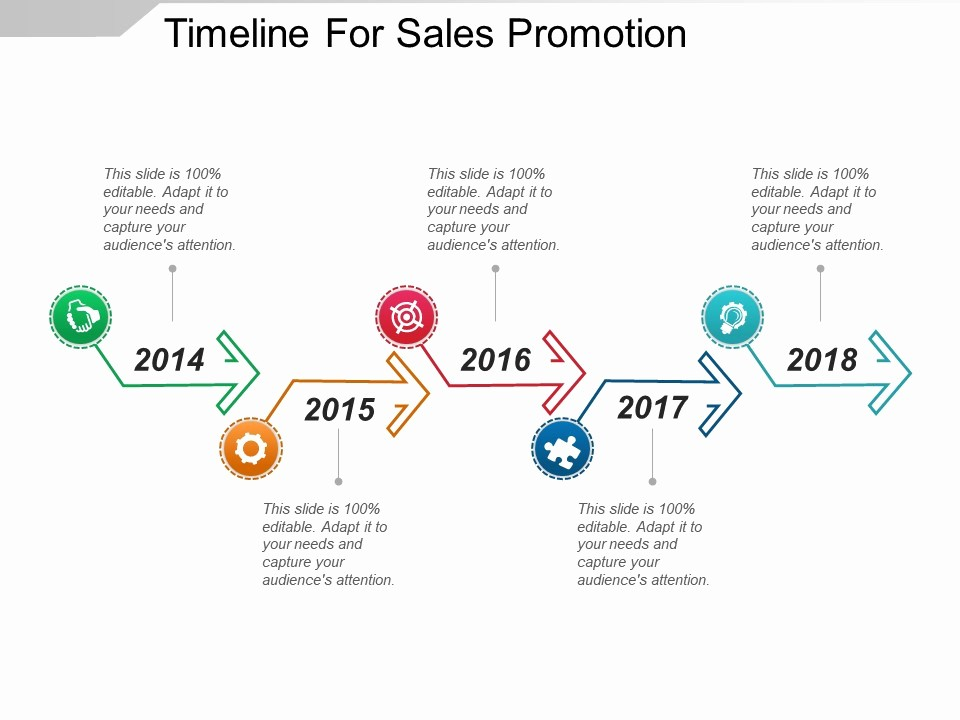Examples Of Timelines In Powerpoint Elegant Timeline for Sales Promotion Powerpoint Presentation