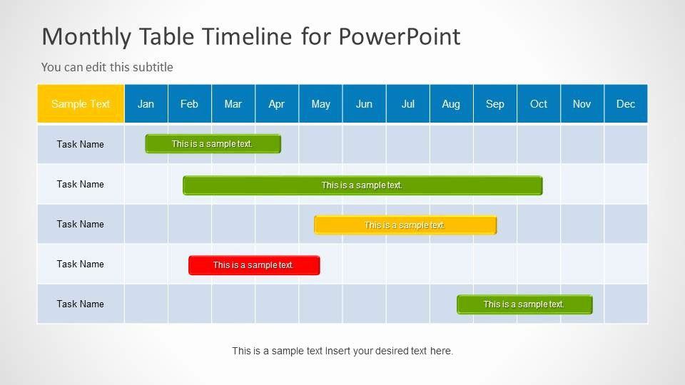 Examples Of Timelines In Powerpoint New Table Timeline Template for Powerpoint Slidemodel