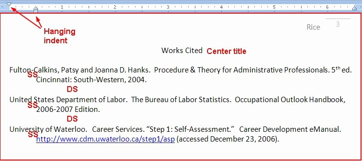 Examples Of Work Cited Pages Best Of Works Cited