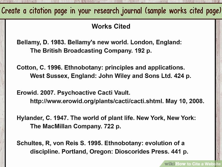 Examples Of Work Cited Pages Fresh How to Cite A Website with Sample Citations Wikihow