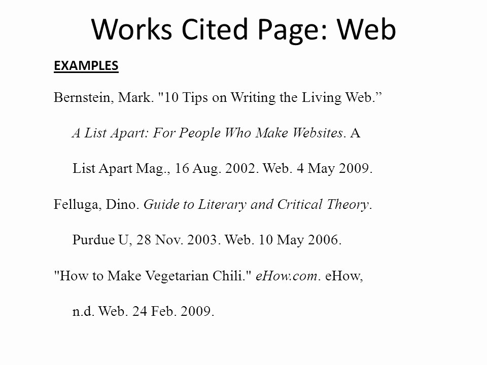 Examples Of Work Cited Pages Luxury Mla Works Cited & In Text Citations Ppt Video Online