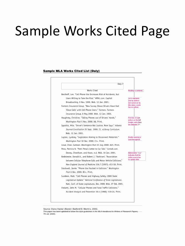 Examples Of Work Cited Pages Luxury Works Cited In Textcitation