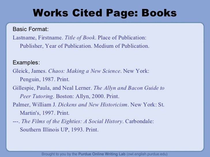 Examples Of Work Cited Pages New Mla format Ppt