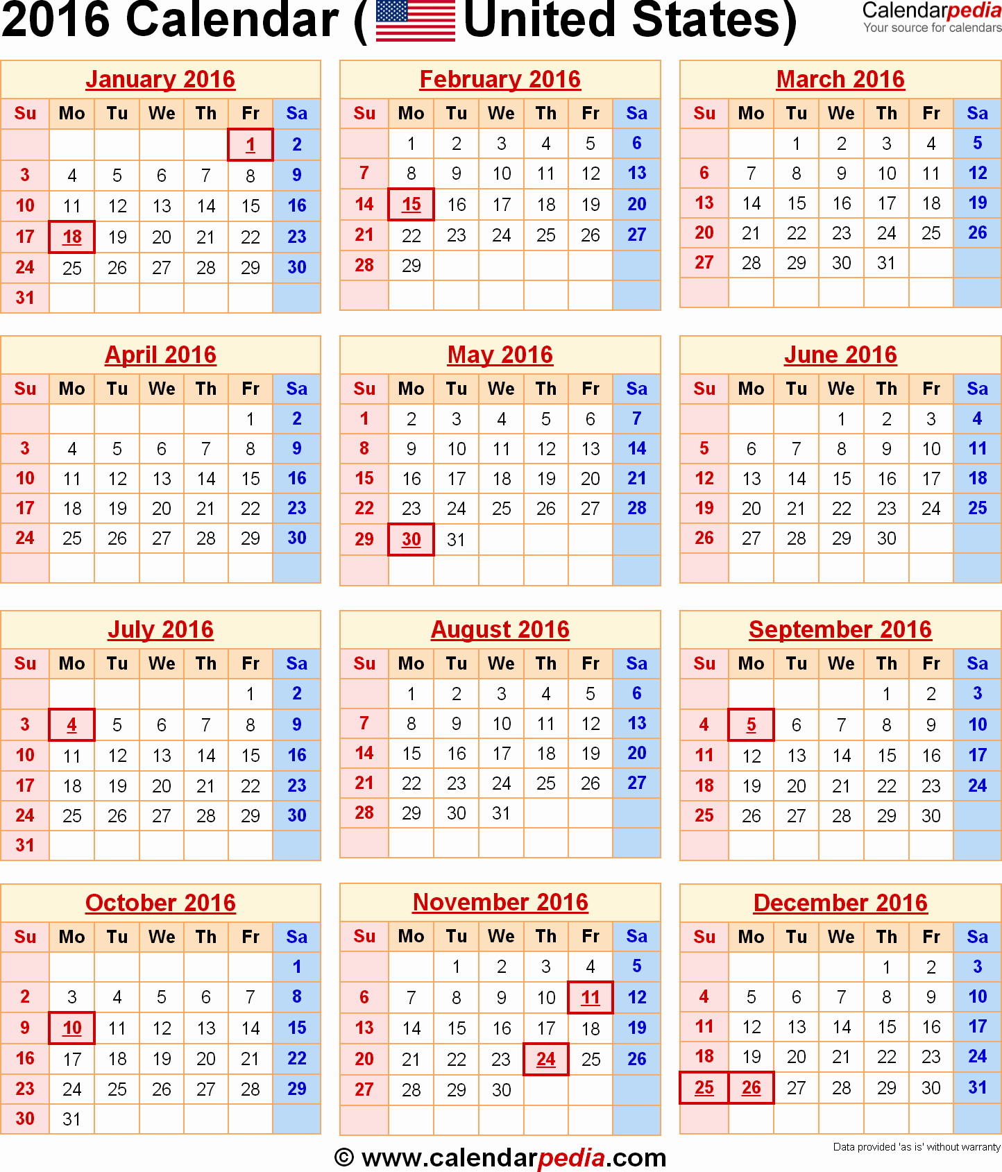 Excel 2016 Calendar with Holidays Beautiful 2016 Calendar with Federal Holidays & Excel Pdf Word