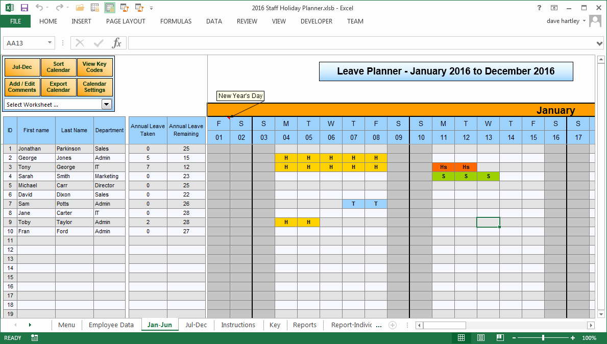 Excel 2016 Calendar with Holidays Beautiful 2016 Employee Vacation Calendars Excel
