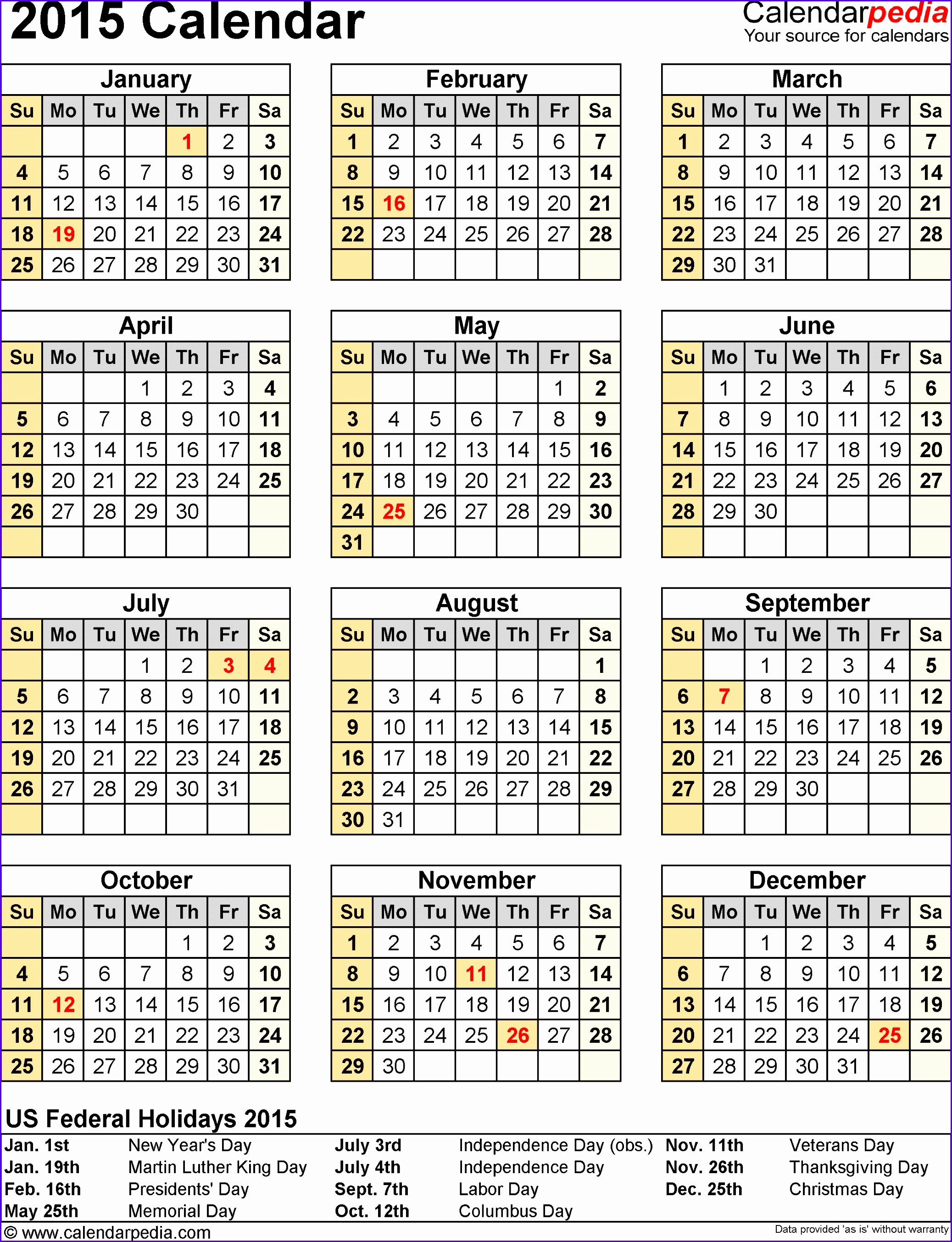 Excel 2016 Calendar with Holidays Beautiful 6 Excel Yearly Calendar Template 2014 Exceltemplates